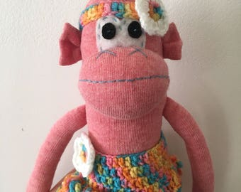 Skirt Sock Monkey, crochet skirt, headband
