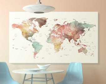 Brown watercolor world map canvas, world map wall art detailed print, push pin  world map with countries and cities