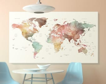 World maps etsy brown watercolor world map canvas world map wall art detailed print push pin world gumiabroncs Image collections