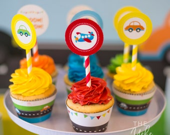Transportation Cupcake Toppers | Transportation Party Circles | Cars and Trucks Party | Transportation Invite | printable
