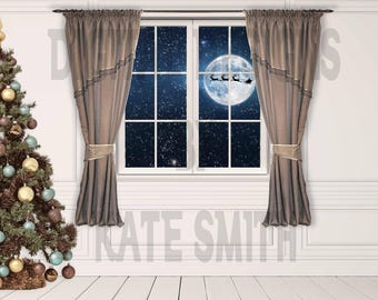 Christmas Window Digital Backdrop / Background, High Resolution, Instant Download.