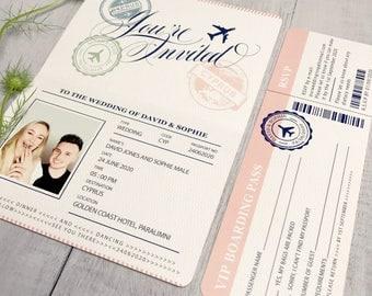 Passport wedding invitations with RSVP, Destination wedding invitations, Passport wedding invites, Wedding beach invitation with RSVP