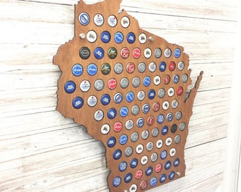 Wisconsin Beer Cap Map | With Standoffs | State Beer Cap Map | Bottle Cap Map | Gifts For Him | All States Available