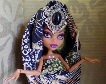 Black stone statement ooak doll adjustable exotic crown headpiece for Monster High and similar head dolls made in USA, adjustable ring