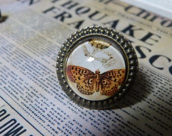 Vintage Butterfly cabochon ring