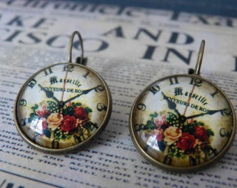 Earrings cabochon flower clock