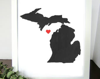 Michigan Watercolor Print, State Wall Art, Home Decor, Wall Artwork, Gift for Him, Wedding Gift, Shower Gift,  Anniversary Gift, Wall Decor