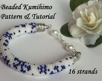 16 strands beaded kumihimo PDF pattern tutorial snowflakes