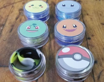 Pokemon Starter 10ml Acrylic Split Silicone Jar I Colorado medical Wax Container I Charmander Squirtle Bulbasaur pikachu pokeball