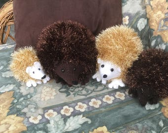 Knitted Hedgehog Family