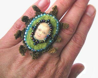 Ring, finger ring, fashion jewelry, beads, felt ring