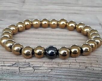 Gold hematite bracelet for women hematite beaded bracelet stretch bracelet healing bracelet happiness bracelet gift for her gift for women