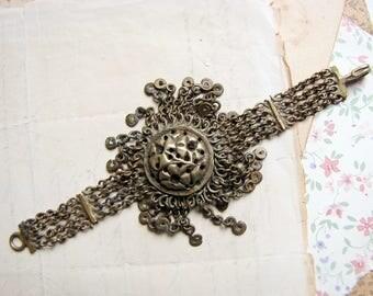 Vintage tribal India bracelet - primitive brass multi strand chain with domed cast metal flower focal