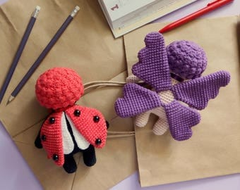 Set of Crochet PATTERNS: Insect Dolls Ladybird and Butterfly Stuffed Dolls