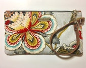 Asia Boho Wristlet, Clutch, Small Purse, Phone Bag, Wallet, Travel Bag.  Birthday Gift for Her, Womens Gift. Handmade by Noelle & Lola