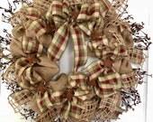 Country Home Decor / Primitive Decor / Americana Wreath / Farmhouse Wreath / Burlap Wreath / Gifts For Her / Rustic Decor / Deco Exchange