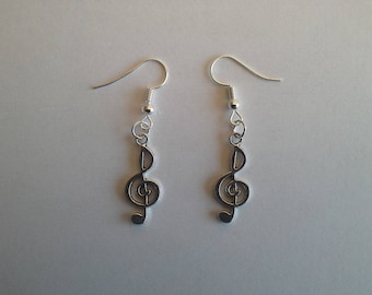 Earrings silver treble clef earrings