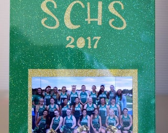 Custom Cut Mat with Your Cheerleading or Volleyball Name Cut Out and any Photo 4x6 or 5x7 - includes a clear plastic standing frame.