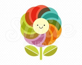 HAPPY RAINBOW FLOWER Clipart Illustration for Commercial Use | 0029