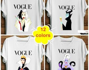 Disney Villain Shirt. Witch Shirt. Parody Shirt. Disney Vogue Ursula Shirt. Maleficent Shirt. Cruella Shirt. Evil Queen Shirt. Halloween