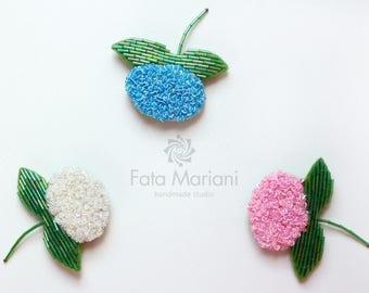 Beaded brooch, Flower Brooch, Beaded Hydrangea, Beaded Flower, Pink Brooch, Blue brooch, Ivory Brooch, Valentine's Day Gift, Flower jewelry