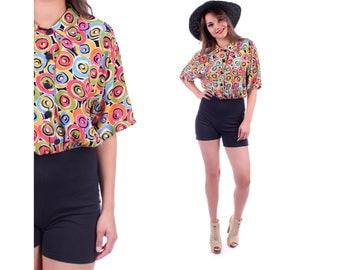80s Mini Romper Shorts PLAYSUIT 80s Vintage Short Sleeve Rainbow Jumpsuit Cotton Summer Black Shorts 1980s Small to Medium