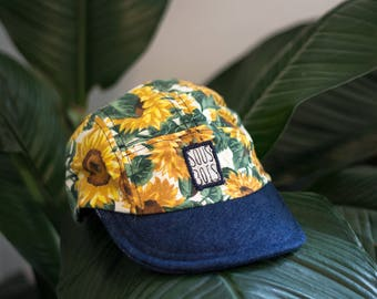 THE SUNFLOWERS CAP - SummerCollection2017 - Handmade and recycled 5panel hats/caps