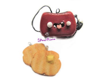 Polymer Clay Cute Toaster with Toast Charms, Polymer Clay Charm, Planner Buddy, Planner Charm, Polymer Clay Toast, Phone Charm, Clay Charm