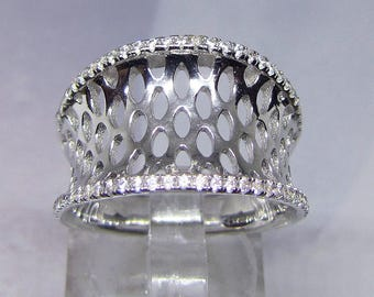 Ring ring silver diamond CZ (Cubic Zirconia) size 57