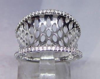 Ring ring silver diamond CZ (Cubic Zirconia) size 57