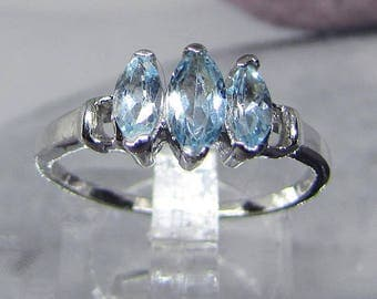 Woman silver ring and faceted Blue Topaz size 56