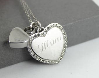 Stainless steel Crystal Heart Urn Necklace , Memorial Jewellery,  Cremation Jewelry, Always in my Heart Urn Necklace