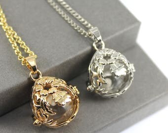 Floral Teardrop Locket with Fillable Glass Orb, Memorial Jewellery, Memorial Locket, Urn Locket, Cremation Jewelry, Cremation necklace