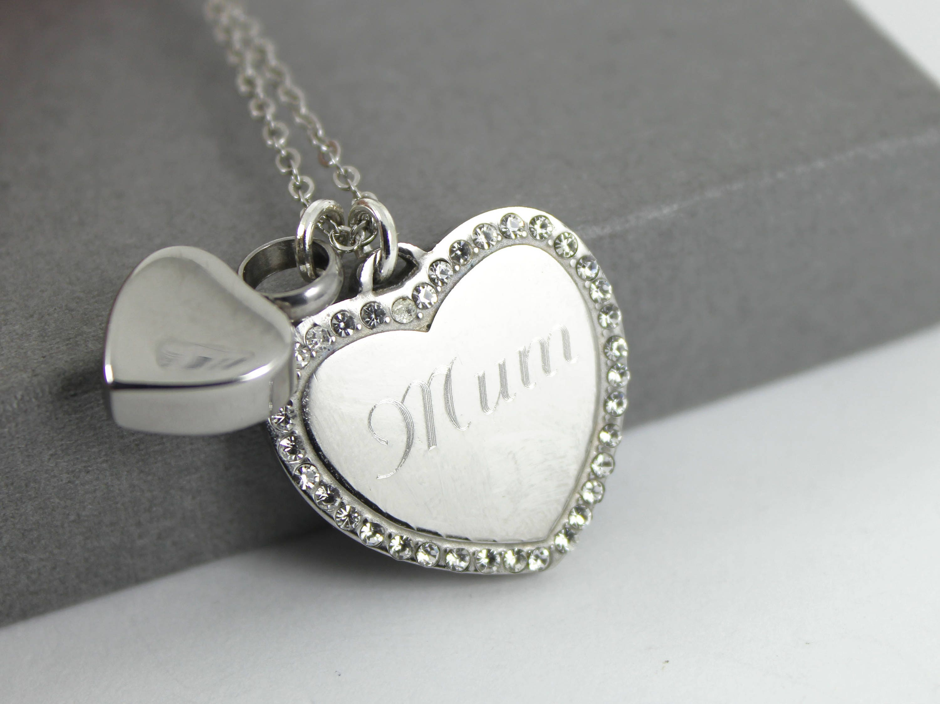 Stainless steel crystal heart urn necklace memorial for Father daughter cremation jewelry