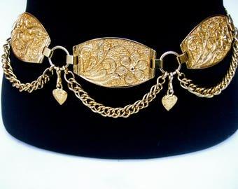 NEIMAN MARCUS Italian Gilt Link Medallion Belt