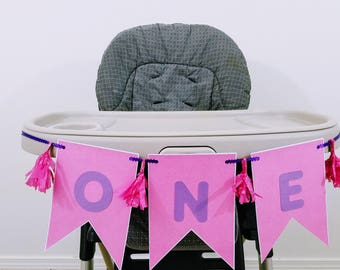 "High Chair ""One"" Birthday Banner, First Birthday Banner, Glitter Pink 1st Birthday Banner, Handmade Multiple Colors Available"