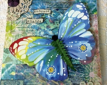"""Butterfly mixed media canvas, 8.5"""" x 8.5"""","""