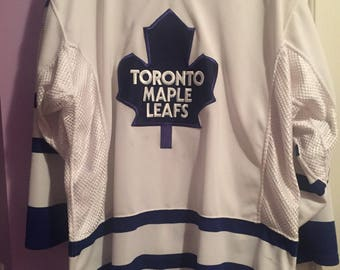 Vintage 90s Authentic Toronto Maple Leafs NHL Hockey Jersey - CCM w/ Fight Strap
