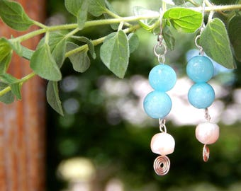 Amazonite and Pearl Silver Spiral Earrings