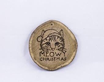 Meowy Christmas Wood Slice Ornament