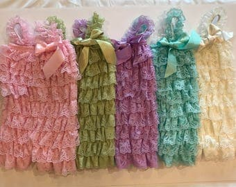 Petti Lace Romper, Baby Girl Outfit ,Baby Romper, Ruffle Romper, Lace Baby Romper, Lace Petti Romper