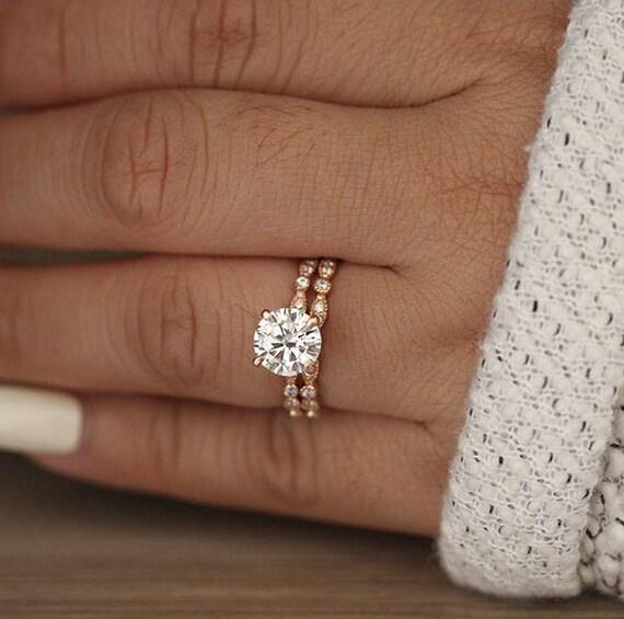 Wedding Ring Set Moissanite Rose Gold Engagement Ring Round