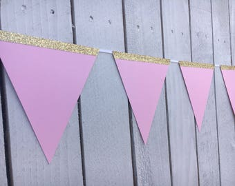 Pink and Gold Bunting, Bridal Shower, Baby Shower or Birthday Party | Bunting Banner and Flags | Girl Birthday Decorations