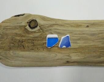 2 Blue Beach Pottery Shards - Beautiful Shaped Sea Pottery - Genuine Sea pottery -Jewelry Supply Pottery  # 57