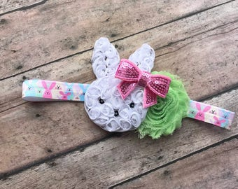 easter bunny headband - white bunny headband - easter headband - bunny bow - easter bow - bunnies headband