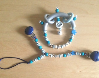 Duo rattle + blanket clip / pacifier 2 in 1-custom blue star