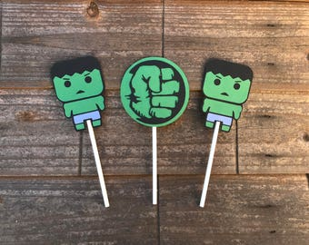 Super Hero Hulk Themed Cupcake Toppers