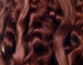 Mohair Premium para pelo de la muñeca. Chocolate de color marrón.