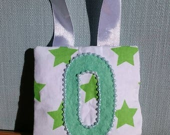 GREEN star tooth fairy pouch door-hanger with LIME felt letter, GREEN beaded border, and green diagonal pocket on reverse for tooth/coin.