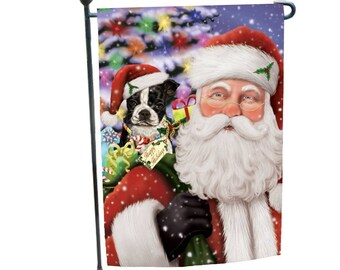 Jolly Old Saint Nick Santa Holding Boston Terriers Dog And Happy Holiday  Gifts Garden Flag 12